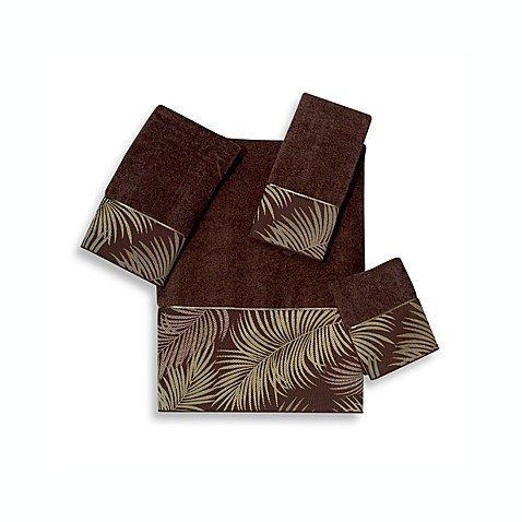 Avanti Tropical Leaves Washcloth in Mocha
