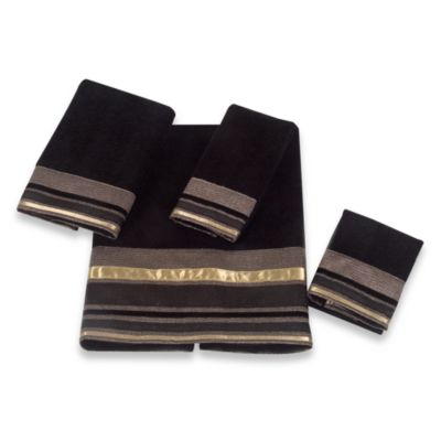 Avanti Geneva Black Washcloth