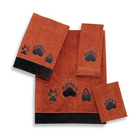 Avanti Paw Print Fingertip Towel in Copper