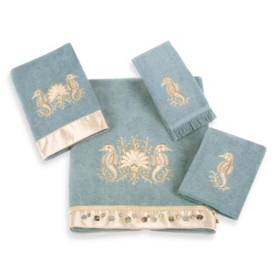 Avanti Seahorses Washcloth in Mineral