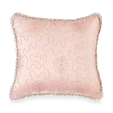 Glenna Jean Meadow Embroidered Pink Pillow