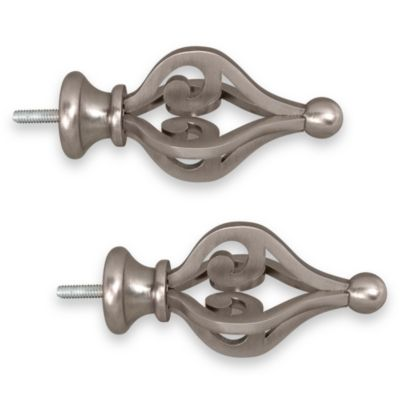 ReSolutions Birds Nest Finials in Brushed Pewter