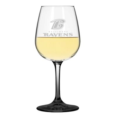 Satin Etched NFL Baltimore Ravens Wine Glasses (Set of 2)