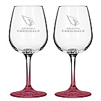 Satin Etched NFL Arizona Cardinals Wine Glasses (Set of 2)