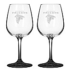 Satin Etched NFL Atlanta Falcons Wine Glasses (Set of 2)