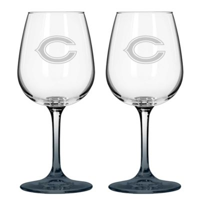 Satin Etched NFL Chicago Bears Wine Glasses (Set of 2)