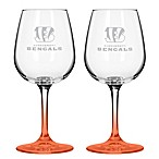 Satin Etched NFL Cincinnati Bengals Wine Glasses (Set of 2)