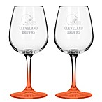 Satin Etched NFL Cleveland Browns Wine Glasses (Set of 2)