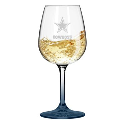 Satin Etched NFL Dallas Cowboys Wine Glasses (Set of 2)