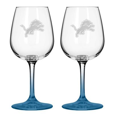 NFL Detroit Lions Satin Etched Wine Glasses (Set of 2)