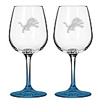 Satin Etched NFL Detroit Lions Wine Glasses (Set of 2)