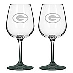 Satin Etched NFL Green Bay Packers Wine Glasses (Set of 2)