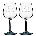 Satin Etched NFL Houston Texans Wine Glasses (Set of 2)