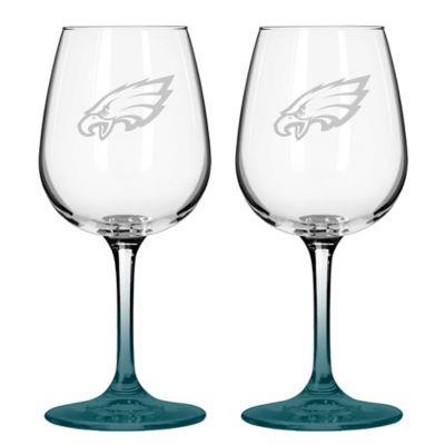 NFL Philadelphia Eagles Satin Etched Wine Glasses (Set of 2)