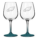Satin Etched NFL Philadelphia Eagles Wine Glasses (Set of 2)