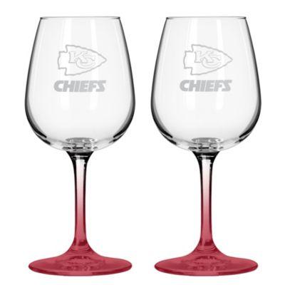 NFL Kansas Chiefs Satin Etched Wine Glasses (Set of 2)