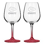 Satin Etched NFL Kansas Chiefs Wine Glasses (Set of 2)
