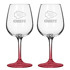 NFL Kansas Chiefs Satin Etched Wine Glasses (Set of 2)