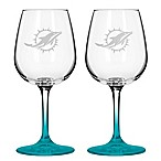 Satin Etched NFL Miami Dolphins Wine Glasses (Set of 2)