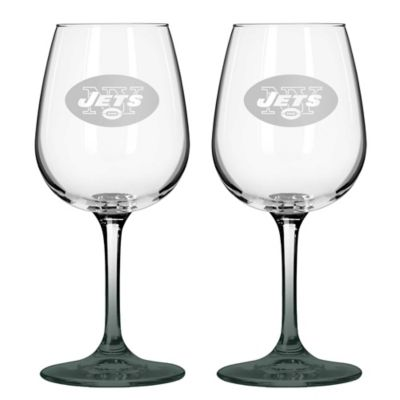 NFL New York Jets Satin Etched Wine Glasses (Set of 2)