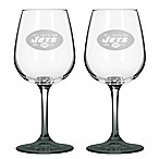 Satin Etched NFL New York Jets Wine Glasses (Set of 2)