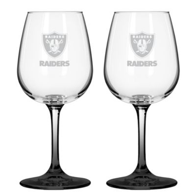NFL Oakland Raiders Satin Etched Wine Glasses (Set of 2)