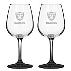 Satin Etched NFL Oakland Raiders Wine Glasses (Set of 2)