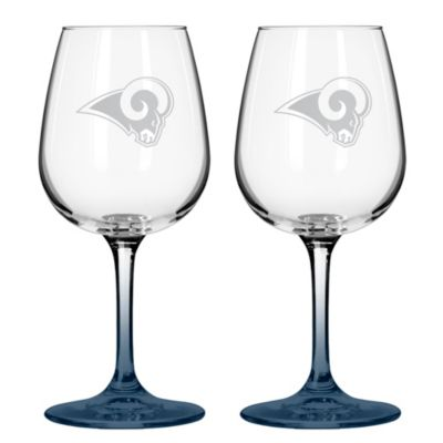 Satin Etched NFL St. Louis Rams Wine Glasses (Set of 2)