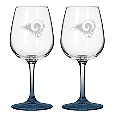 NFL St. Louis Rams Satin Etched Wine Glasses (Set of 2)
