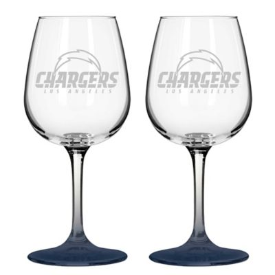 Satin Etched NFL San Diego Chargers Wine Glasses (Set of 2)