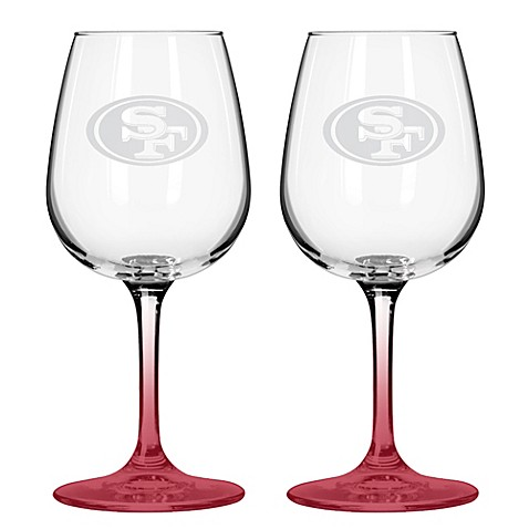 NFL San Francisco 49ers Satin Etched Wine Glasses (Set of 2)