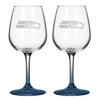 Satin Etched NFL Seattle Seahawks Wine Glasses (Set of 2)