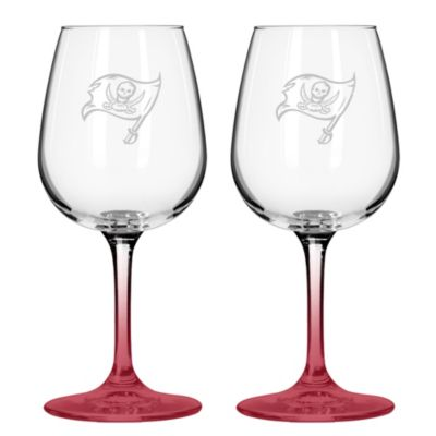 Satin Etched NFL Tampa Bay Buccaneers Wine Glasses (Set of 2)
