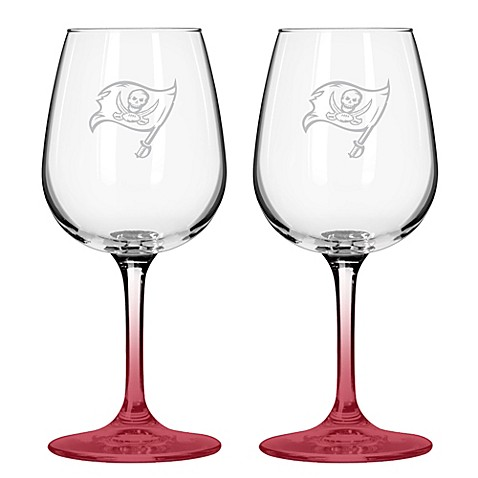 NFL Tampa Bay Buccaneers Satin Etched Wine Glasses (Set of 2)