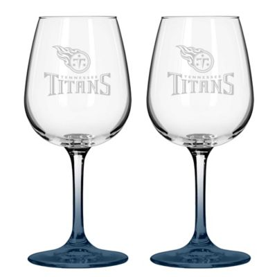 NFL Tennessee Titans Satin Etched Wine Glasses (Set of 2)