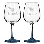 Satin Etched NFL Tennessee Titans Wine Glasses (Set of 2)