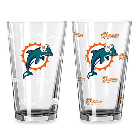 NFL Miami Dolphins Color Changing Pint Glasses (Set of 2)