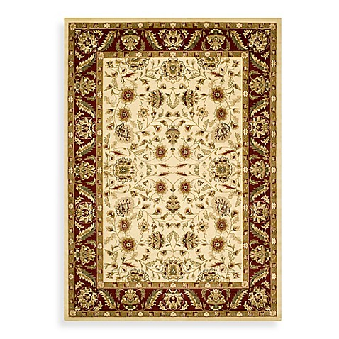 Safavieh Lyndhurst Collection Floral Ivory and Red 8' Round Rug