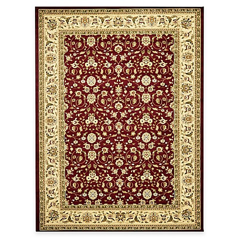 Safavieh Lyndhurst Red and Ivory Scrolling Pattern 5' Round Rug