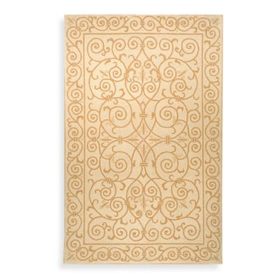 Safavieh Chelsea 7-Foot 6-Inch x 9-Foot 6-Inch Oval Wool Rug in Ivory and Gold