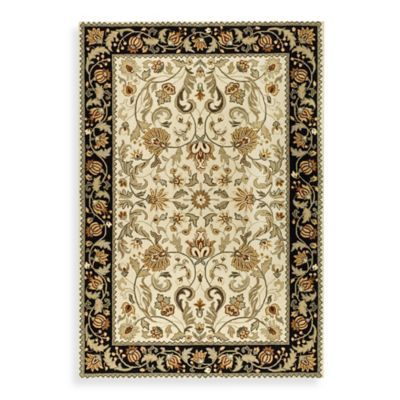 Safavieh EZ Care Navy and Ivory Floral 8' Round Room Size Rug