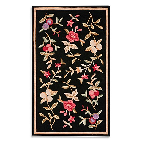 Safavieh EZ Care Black Floral 6' Round Rug