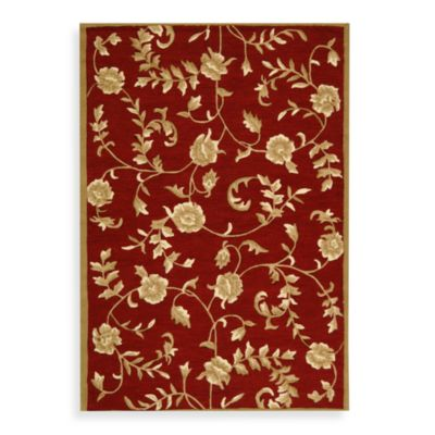 Safavieh EZ Care Floral 8-Foot Round Room Size Rug in Red and Gold