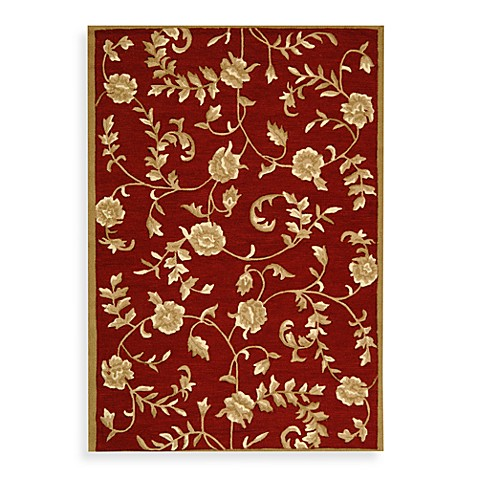 Safavieh EZ Care Red and Gold Floral 8' Round Room Size Rug