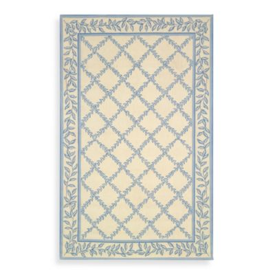 Safavieh Chelsea Wool 2-Foot 6-Inch x 4-Foot Accent Rug in Ivory and Light Blue