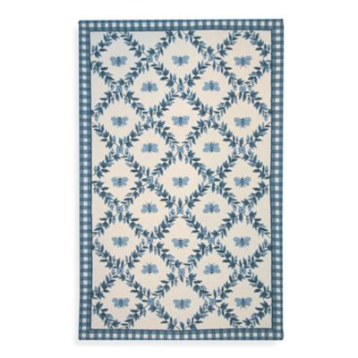 Safavieh Chelsea Collection 5-Foot 6-Inch Wool Round Rug in Light Blue