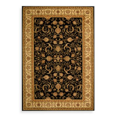 Safavieh Lyndhurst Scroll Pattern 2-Foot 3-Inch x 14-Foot Runner in Black and Ivory