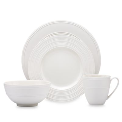 kate spade new york Fair Harbor White Truffle 4-Piece Dinnerware Set