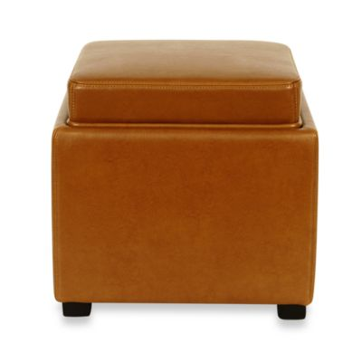Safavieh Hudson Bobbi Leather Storage Ottoman in Cordovan
