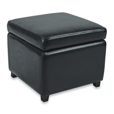 Safavieh Hudson Leather Jonathan Storage Ottoman in Black